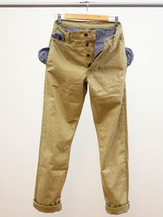 Left Field NYC — West Point Khaki Twill Chinos (loving the Japanese chambray trim)