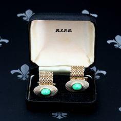 RSPB Vintage Gents Gold Mesh Wraparound Cufflinks Green Stones Original Box