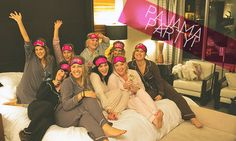 Love this girls night in PJ party idea. Champagne. Crafting (making beauty stuff). Pampering. And more.