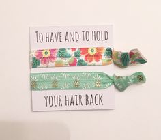 A personal favorite from my Etsy shop https://www.etsy.com/listing/451745314/bridesmaid-hair-tie-favorshair-tie-cards
