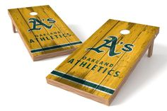Oakland Athletics Cornhole Board Set - Vintage (w/Bluetooth Speakers)