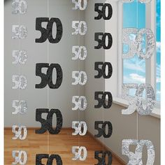 black and white decorations for a birthday party   50th Birthday Black Hanging string Decoration