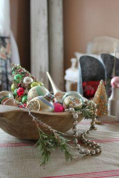 Dough bowl + vintage shiny brite glass ornaments-http://rustyhinge.blogspot.com/2011/12/most-wonderful-time-of-year.html