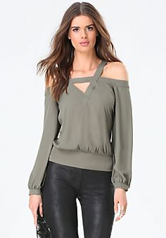 Cold+Shoulder+V-Neck+Top