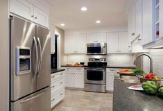 Best White Kitchen Cabinets Gray Granite Countertops Stainless Steel Appliances
