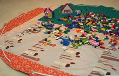 how to make a drawstring Lego storage bag that doubles as a playmat. Fun, cute, and useful!