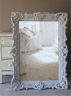 This baroque style mirror on a wall would be stunning but side ways not vertical.   Shabby Chic Swedish Grey Ornate Mirror, Large Baroque Frame.