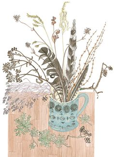 In addition to her printmaking, artist Angie Lewin also produces a limited number of original watercolours. Watercolor Drawing, Watercolor Paintings, Angie Lewin, Botanical Art, Doodle Art, Flower Art, Printmaking, Still Life, Illustration Art