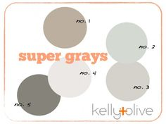 Great gray paint colors from Benjamin Moore. 1: Pashmina, medium dark shade with lots warm brown. 2: Metropolitan, fresh blue gray. 3: Gray owl, perfect neutral gray. 4: Paperwhite, the palest grey-white. 5: Chelsea gray, a deep gray, great for dramatic bedrooms.--- more options :)