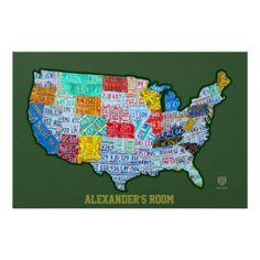 License Plate Map of the USA Poster on Green, with Customizable Personalized Text Option!