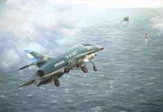Aproximacion de un avion argentino al  portaaviones 25 de Mayo