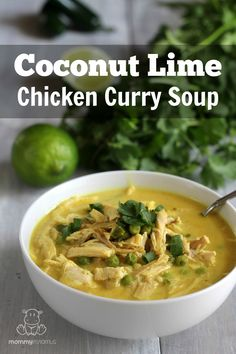 Coconut Lime Chicken Curry Soup- So good! We left out the peas, added celery, swapped the coconut butter for coconut cream (think that's a typo anyway), and used half a jalapeno. Curry Recipes, Paleo Recipes, Soup Recipes, Whole Food Recipes, Cooking Recipes, Gumbo Recipes, Lime Recipes, Coconut Recipes, Slow Cooking