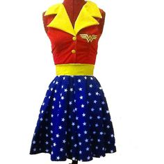 Wonder Woman Justice League Dc and Comic Hero Inspired Rockabilly... ($83) ❤ liked on Polyvore featuring dresses, costume, black, women's clothing and comic book