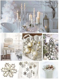 love using white for the holidays #silver #white #holidays #winter