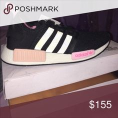 Adidas nmd Black with pink and flash feature Adidas Shoes Sneakers