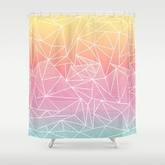 Beeniks Rays Shower Curtain by Fimbis | Society6  . .  Home decor, interiors, interior design, fashion, summer, yellow, orange, pink, blue, bathroom,