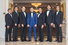 Groom in Blue Tux with Groomsmen | Photography: Haring Photography. Read More:  http://www.insideweddings.com/weddings/bright-and-festive-hindu-celebration-with-outdoor-ceremony-in-miami/855/