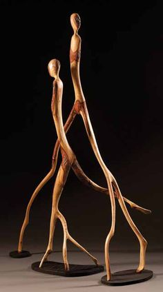 "*Wood Sculpture - ""On Point Figures"" by Brad Sells"
