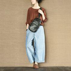 Two Colours Blouse Handmade Button Linen Shirt Top Causel Women Clothes