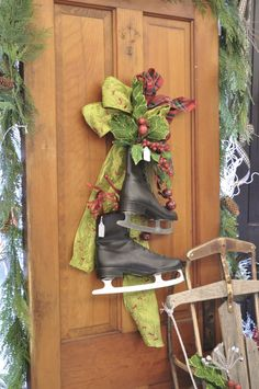 JAH - Technically, I've already done this at Mom's house ;)  black ice skates vintage sled porch display