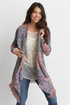 AEO Space Dye Waterfall Cardigan  by AEO   An easy, cozy cardigan for wherever you wander.  Shop the AEO Space Dye Waterfall Cardigan  and check out more at AE.com.