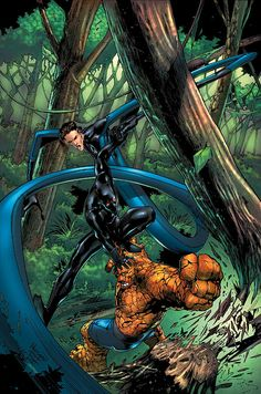 Mister Fantastic & Thing vs Black Panther by Carlo Pagulayan