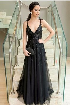 Stunning A-Line Deep V Neck Open Back Black Tulle Long Prom Dresses with  Appliques c50a8514777d
