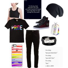 FTM Transgender Pride by robbietheraccoon on Polyvore featuring polyvore, Junya Watanabe Comme des Garçons, Yves Saint Laurent, Casetify, Black, West Coast Jewelry, men's fashion, menswear and clothing