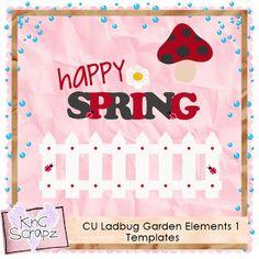 KnC Scrapz: CU Ladybug Garden Elements 1 PS Templates