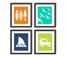 Art ideas. Switch shark fin and birds for hibiscus and lifeguard images. Choose different colors?