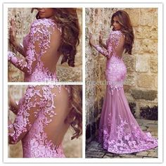 2017 Light Purple Appliques Lace Prom Dresses Mermaid Tulle Modest Open Back Evening Gowns with Long Sleeves Light Purple Tulle Prom Dresses Lace Appliques Prom Dress Opoen Back Evening Gowns with Belt Online with 217.14/Piece on Meetdresses's Store | DHgate.com