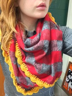 Blanket Scarf (Red, Grey & Yellow) by Hookopotomus on Etsy https://www.etsy.com/listing/252378463/blanket-scarf-red-grey-yellow