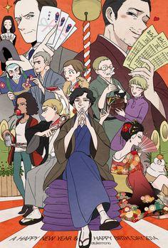 Sherlock in a traditional Japanese style! Drôle Sherlock Holmes, Sherlock Cast, Sherlock Fandom, Sherlock Quotes, Sherlock John, Watson Sherlock, Jim Moriarty, Johnlock, Martin Freeman