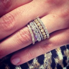 Image result for 5 diamond ring on hand stack