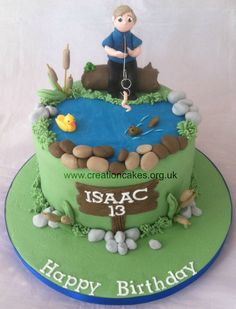 Boys Fishing Themed Birthday Cake