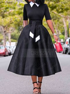 Hollow Bowknot Stand Collar Half Sleeve Women's Maxi Dress - African fashion Classy Dress, Classy Outfits, Chic Outfits, Dress Outfits, Girly Outfits, Elegant Dresses, Cute Dresses, Vintage Dresses, Casual Dresses