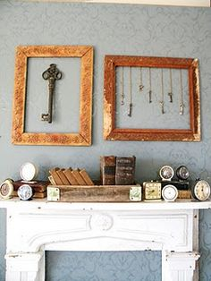 Love the key display and the old alarm clocks on the mantle mixed with books