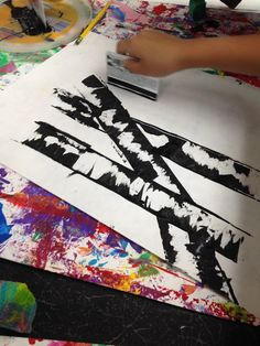 My Oh My: Art Overload Friday, Making birch trees with ink and a credit card.