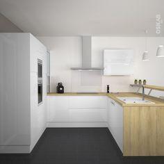 Petite cuisine en bois brut de style classique, implantation en L ...