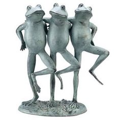 Dancing Frog Trio Garden Statue-Garden Décor. Available at AllSculptures.com