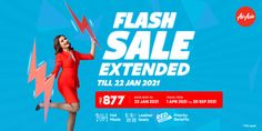 AirAsia India extends its Flash Sale with fares as low as ₹877   National, 20th January 2021: Encouraging forward bookings with a #TimeToTravel campaign while announcing new domestic routes, AirAsia India today announced the extension of its Flash Sale with attractive fares with fares starting from ₹877. The Flash Sale booking period has been extended till 22nd January with special fares for travel between 1 April and 30 Sep 2021. Guests can also pick from a host of other popular destinatio