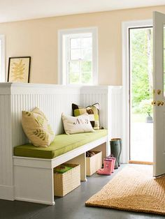 Separate an entryway from the living room or open concept dining room with a built in bench with storage and wainscoting. Photo via BHG How to MAKE an Entryway When You Don't Have One Holly Laine hollylaine House ideas Separate an entryway from the Pony Wall, Half Walls, Built In Bench, My Dream Home, Home Projects, Home Remodeling, Family Room, New Homes, House Design