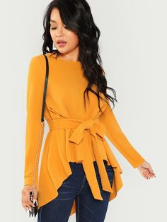 51350adc5 Shop Self Belted Asymmetrical Hem Top online. SHEIN offers Self Belted  Asymmetrical Hem Top   more to fit your fashionable needs.