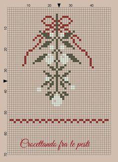 "crocettando fra le pesti: FREE chart ""MISTLETOE"" ♥ thank you ♥ DMC535 Ash gray (for the leaves), DMC 3072 Beaver gray (for berries), DMC 3777 terra cotta (ribbons and band)"