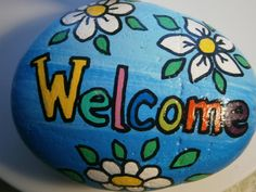 Painted rock Welcome by PlaceForYou on Etsy