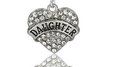 DAUGHTER Australian Crystal Heart Charm Necklace Engraved Silver Plated  #HandmadewithLove #Pendant