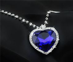 Free Shipping promotion ORIGIN Design gold plated quality Austrian Crystal Heart Of Ocean Heart Pendant Necklace fashion jewelry
