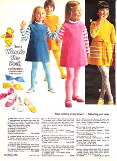 1968 Sears Wish Book 230 Vintage Kids Clothes, Vintage Girls, Vintage Children, Vintage Dresses, Vintage Outfits, 1960s Fashion, Girl Fashion, Vintage Fashion, Classic Fashion