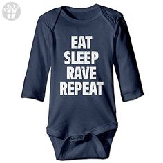 YOG MILK Eat Sleep Rave Repeat Infant Baby's Romper Long Sleeve Jumpsuit Climb Clothes - Eat sleep repeat t shirts (*Amazon Partner-Link)