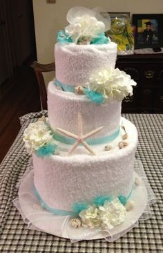 Towel cake( front ) for bridal shower beach theme